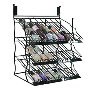 Stylish Black Metal Cosmetics Bottle Holder Nail Polish Organizer Makeup Storage Fashion Display Stand