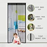 Magnetic Screen Door - LAWOHO Heavy Duty Mesh Curtain with Full Frame Velcro and Powerful Magnets Snap Shut Automatically Pet Friendly Anti Bug Insect Mosquito, Black