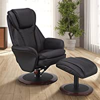 Comfort Chair by Mac Motion Norway Recliner and Ottoman in Java Leather