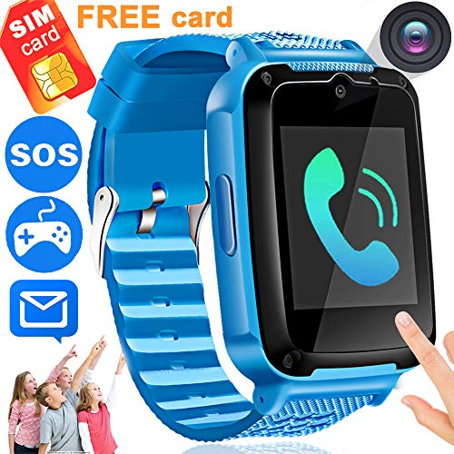 Kids Phone Smart Watch [Speedtalk SIM Included] Ereon Kids Smartwatch for 3-14 Year Girls Boys Children Toys Touch Screen Camera Game Digital Wrist Sport Watch Bracelet Holiday School Gift (Blue-G)