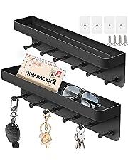 IZSUZEE 2 stuks sleutelhouders met planken en 6 haken, zelfklevende sleutelhouders zonder boorgaten, moderne sleutelhouders, kunnen sleutels opbergen, geschikt voor woonkamer, keuken, badkamer, zwart