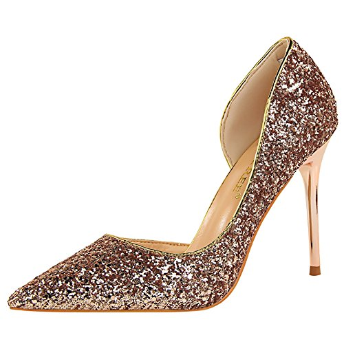para Champán 4 mujer cm alto con Vestido Cattle 9 Shop sexy puntiagudas de tacón lentejuelas de zapatos qYxwp14