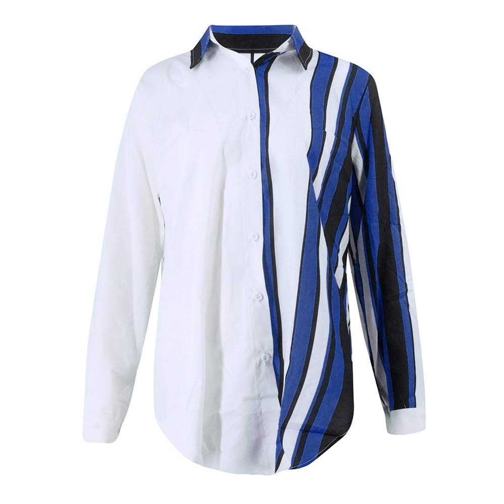 Blouses For Womens,Clearance Sale!!Farjing Womens Casual Long Sleeve Color Block Stripe Button T Shirts Tops Blouse (L, Multicolor 4) by Farjing (Image #4)