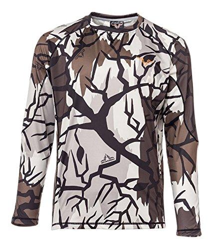 Predator Camo Men's Long Sleeve Performance Crew T-Shirt, Fall Gray, (Predator Camo Fabric)