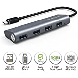 Wavlink USB3.1 タイプC 4ポートハブ アルミ製 USB3.1高速ハブ Type-C USB-C USB3.0 4ポートハブ MacBook