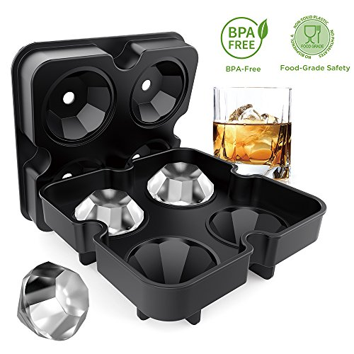 Ice Cube Trays with Lids, Diamond-Shaped Silicone BPA-Free
