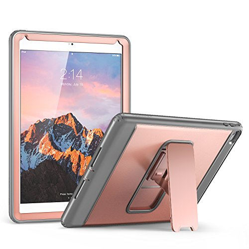 iPad Air 2 Case, YOUMAKER Heavy Duty Apple iPad Air 2 Full-body Rugged Protective Case with Kickstand and Built-in Screen Protector for Apple iPad Air 2 (2014 Release) - Rose Gold/Gray