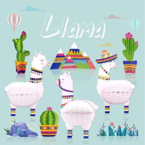 7PCS Llama Cactus Centerpieces Party Supplies, Llama Themed Birthday Party Decoration, Baby Shower Llama Fiesta Honeycomb Birthday Party Decorations
