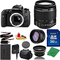 Great Value Bundle for T6S DSLR – 18-55mm STM + 32GB Memory + Wide Angle + Telephoto Lens + Case