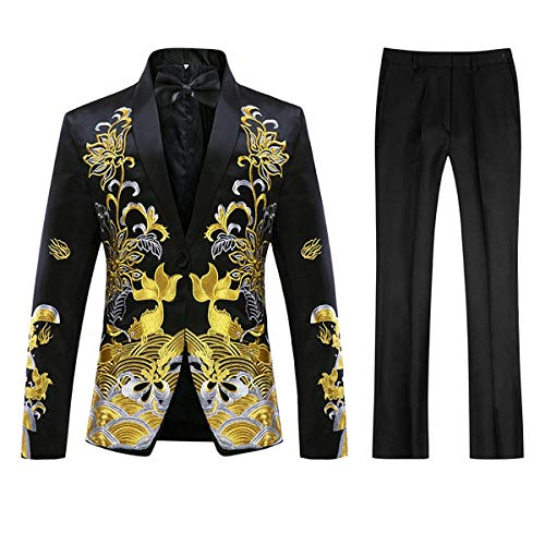 (Mens Floral Sequin Embroidered Dress 2 Piece Suit Slim Fit Blazer Jacket & Pant Black)