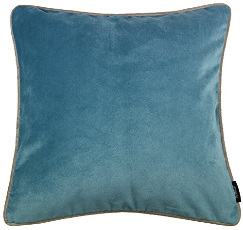 McAlister Textiles Matt Velvet | Pillow Cover Case in Duck Egg Blue | Square 16x16 Inches | Lush & Plush Luxury Throw Cushion Sham Piping Modern Decor for Sofa Couch