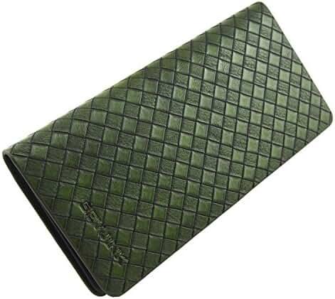IU COMP Generic Men's Leather Long Plaid Wallet