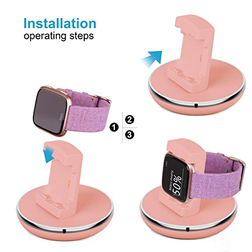 Compatible Fitbit Versa Charger, EPULY Compatible Fitbit Versa Accessories Charging Stand Dock Station Holder Cradle TPU Protective Hook with 3 feet USB Cable Compatible Fitbit Versa Smartwatch Pink by Epuly (Image #6)