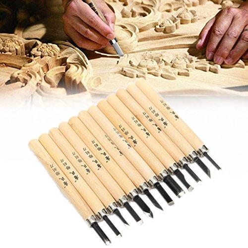 12Pcs Wood ving Hand Chisel Tool Set Wood Working Professional Gouges + Case
