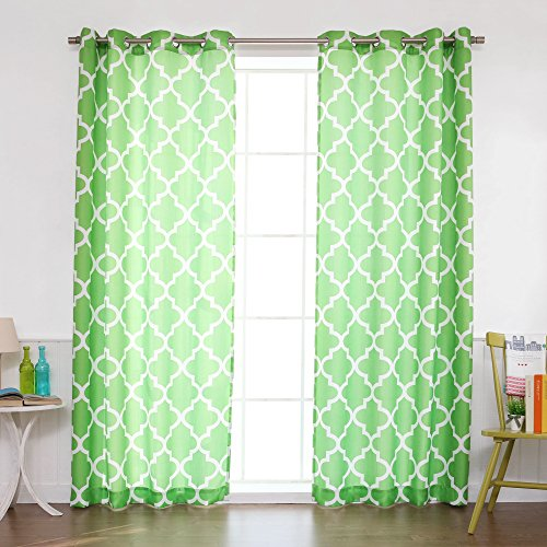 Best Home Fashion Oxford Basketweave Moroccan Print Curtains – Stainless Steel Nickel Grommet Top – Green – 52