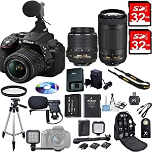 Nikon D5500 DSLR Camera Video Microphone Bundle w/18-55mm f/3.5-5.6 AF-S VR +70-300mm ED+LED Video Light for Photography+Backpack+2x 32GB Memory+Card Reader+Pro Tripod+Battery+Travel Charger+Kit