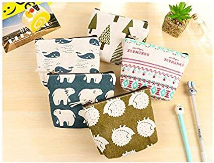 Canvas Coin Purse, iToolai Womens Animal Canvas Change Cash Bag Small Purse Wallets, Pack of 4