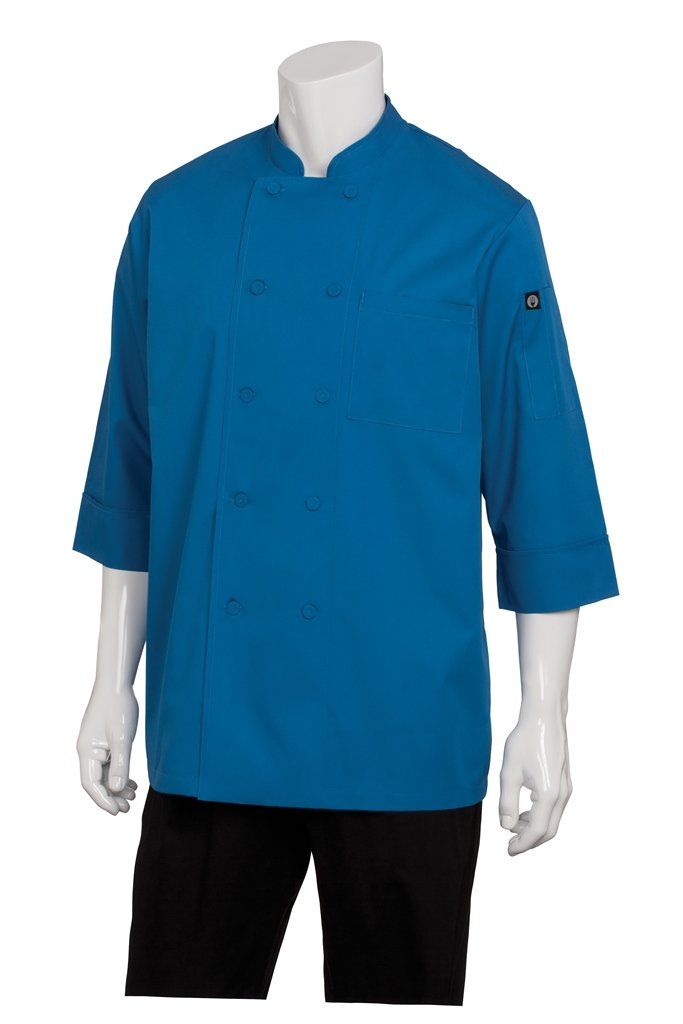 Chef Works Men's Essential 3/4 Sleeve Chef Coat (JLCL) JLCL-BLU-XS