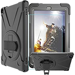 Case-Cubic Shockproof Case for All-New Amazon Fire HD 8 Tablet (7th Gen 2017) - [Adjustable Strap] 360 Rotating Grip Stand Protective Carry Cover/ Tempered Glass Screen Protector (Black)