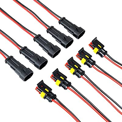 MUYI 5 Kit 2 Pin Way 16 AWG Waterproof Connector Wire 1.5mm Series Terminal Connector Black: Automotive