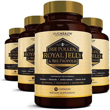 High Potency Royal Jelly Capsules with Bee Pollen & Bee Propolis | Concentrated Natural Superfood with Antioxidant Support | Benefits Weight Loss, Energy & Skin - 4 Bottles, 90 Vegetarian Caps Each