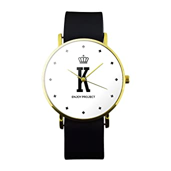 Reloj de pulsera para hombre Mujer Enjoy Project Impresión K King Re Poker Corona Juegos Caja Oro Correa Piel Negro Analógica cuarzo: Amazon.es: Relojes