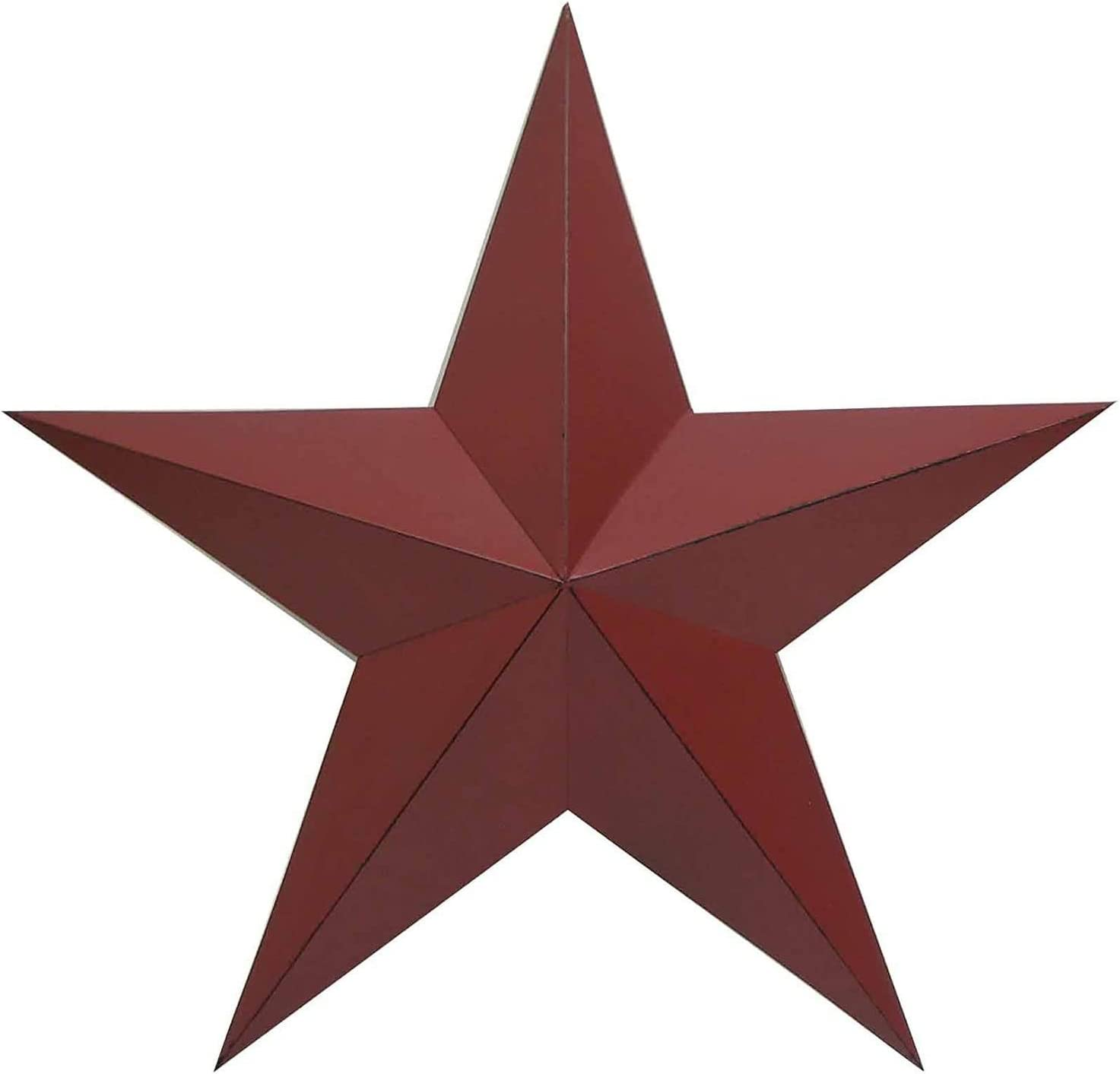 "ACCENTHOME Country Steel Metal Barn Star Antique Rustic Country Primitive Barn Star Wall Décor 18"" (Red)"