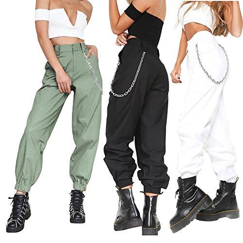 gamba Nuovi larga larga da a donna di pantaloni con pantaloni moda pantaloni colore Army Green gamba catena harem puro di 7rS7Oxn