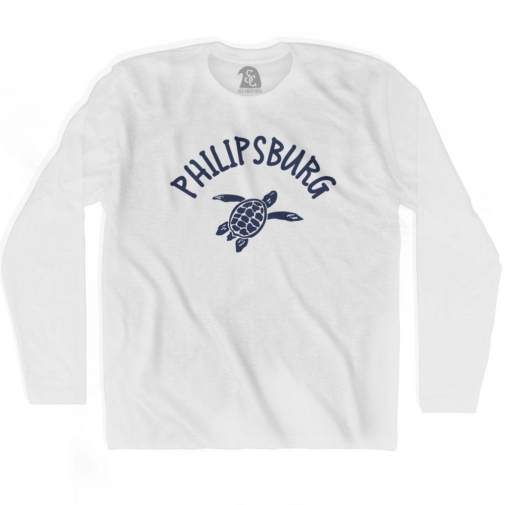 Philipsburg Beach Sea Turtle Adult Cotton Long Sleeve T-shirt