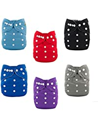 ALVABABY Baby Cloth Diapers One Size Adjustable Washable Reusable for Baby Girls and Boys 6 Pack + 12 Inserts 6BM99