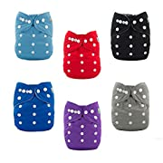 ALVABABY 6pcs Pocket Cloth Diapers with 2 Inserts Each,Adjustable Washable Reusable (Boy Color) 6BM99