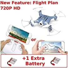 Syma X21W (+Extra Battery) 720P HD Wifi Camera FPV Mini Drone - Touchscreen Flightplan & Gyro Control with App - Altitude Hold - iOS Android - RC Quadcopter (Blue)