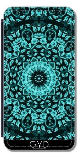 Leder Flip Case Tasche Hülle für Apple Iphone 7 Plus / 8 Plus - Teal Mandala Elegante Blumen by Nina Baydur