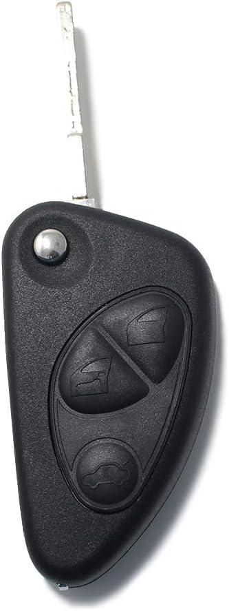 LAGE - Llave de repuesto para mando a distancia Alfa Romeo 145, 146, 147, 156, 159, 164, 166, GTV, GT, GTA, Spider, Alfetta GT, Brera, Giulia GT, Carcasa con hoja de 3 botones