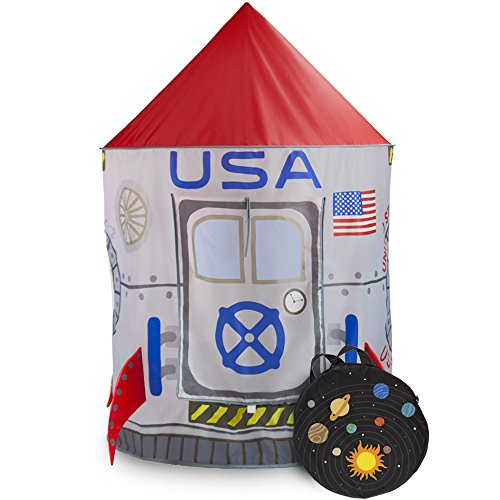Space Adventure Roarin' Rocket Play Tent with Milky Way Storage Bag  Indoor/Outdoor Children's Astronaut Spaceship Playhouse, Great for Ball Pit Balls and Pretend Play by Imagination Generation