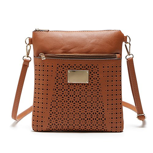 Bag for Triple Purse Zipper Girls Crossover Teen Brown Shoulder Crossbody Medium Womens Duketea qzwy8fTR