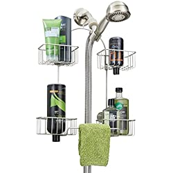mDesign Hand Held Shower Head Bathroom Caddy for Shampoo, Conditioner, Soap - Satin
