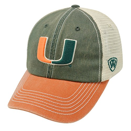 NCAA Miami Hurricanes Offroad Snapback Mesh Back Adjustable Hat, One Size, Dark Green/Orange/Khaki