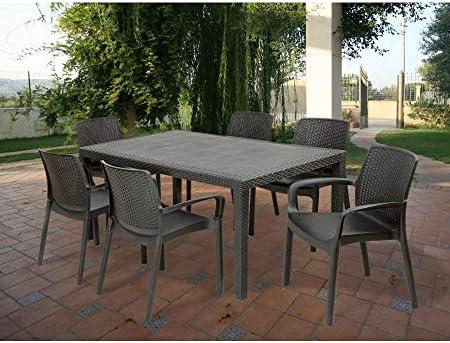 Ipae-Progarden – Tavolo Fisso Intrecciato Stile Rattan, Plastica, Colore Antracite Pri16 150X72X90 Cm