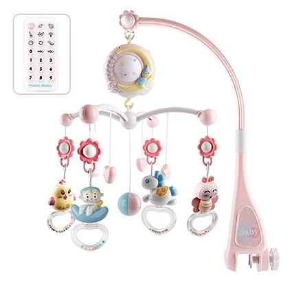 Recién Nacido Cuna móvil con Luces y música, Proyector de Estrellas Cuna móvil, Colgante Giratorio Campana Timing Proyección para Regalo de bebé