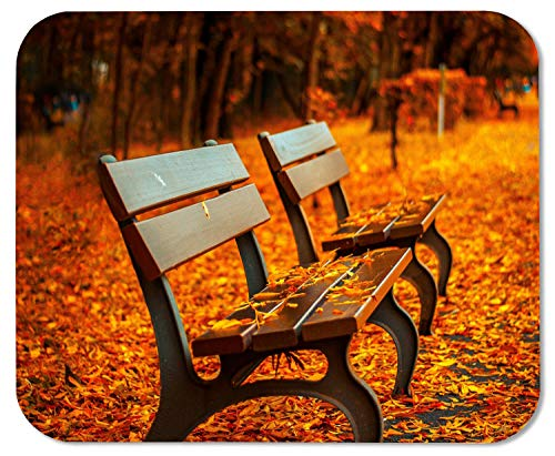 (Vobber Gaming Mouse Pad Autumn Park Bench Fall Orange Leave Customized Rectangle Non-Slip Rubber Mousepad Gaming Mouse Pad)