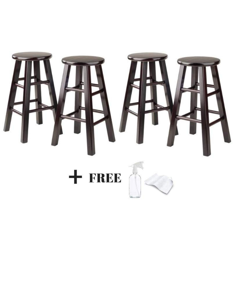 Winsome 24-Inch Square Leg Counter Stool Natural, Set of 4 Freebies