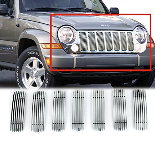 E-Autogrilles Aluminum Polished 4mm Vertical Cutout Billet Grille for 02-07 Jeep Liberty (7PCS)(30-0108) - Jeep Liberty Chrome Grill