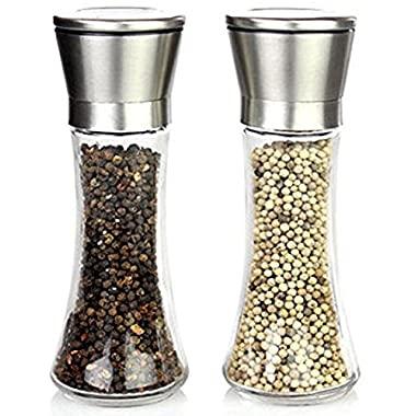 Premium Stainless Steel Salt and Pepper Grinder Set of 2 - Brushed Stainless Steel Pepper Mill and Salt Mill, Tall Glass Body 6 Oz, Adjustable Ceramic Rotor - Salt and Pepper Shaker Set By YAMO