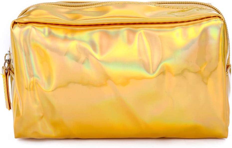 YeLinjn - Estuche holográfico de primera clase para lápices y cosméticos, con cremallera, estilo fino, color dorado: Amazon.es: Oficina y papelería