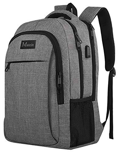 (Travel Laptop Backpack,Business Anti Theft Slim Durable Laptops Backpack with USB Charging Port,Water Resistant College School Computer Bag for Women & Men Fits 15.6 Inch Laptop and Notebook - Grey)