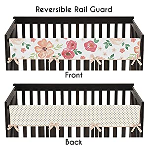 Sweet Jojo Designs Peach, Green and Gold Long Front Crib Rail Guard Baby Teething Cover Protector Wrap for Watercolor Floral Collection – Pink Rose Flower Polka Dot