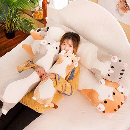LEWIS1205 Stuffed Animal Body Pillow Cute Cat Pillow Stuffed Plush Toy Dolls Dakimakura Decorative Back Cushions Backrest Travel Throw Body Pillow Bed Car-Brown-50cm