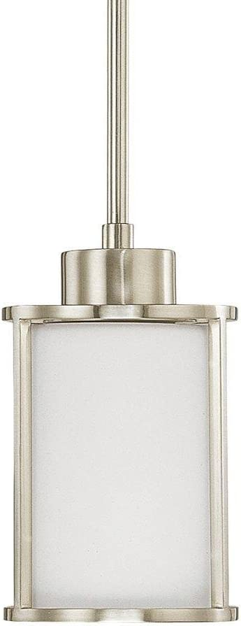 Home Decorators Collection 1-Light Brushed Nickel Mini-Pendant with Satin White