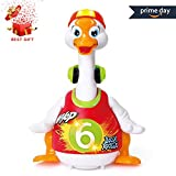 HOMOFY Goose Baby Dancing Hip Hop Swing 6 Months up, Super Fun EQ Development Educational Toys Flexible Walking/Light/Music